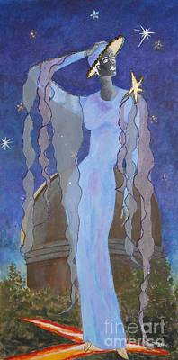 Celestial Bodies -- Fashion Collage Portrait W/ Fabric And Crystals Art Print