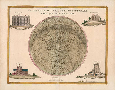 Royalty-Free and Rights-Managed Images - Celestial Chart - Planisphere - Constellations Map - Celestial Meridians - Antique Map of the Sky by Studio Grafiikka