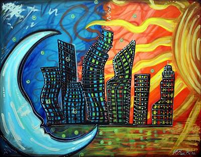 City Painting - Celestial City by Laura Barbosa