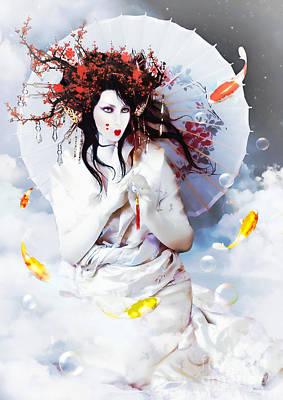 Golden Waters Digital Art - Celestial Koi Geisha by Shanina Conway