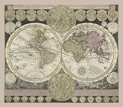 Photograph - Celestial Map 1710 by Andrew Fare
