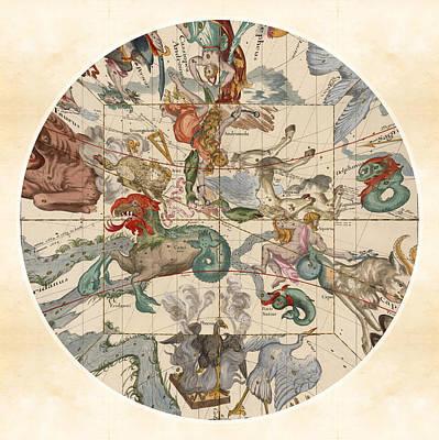 Pegasus Drawing - Celestial Map - Constellations - Cetus, Aries, Pegasus, Aquarius - Illustrated Map Of The Sky by Studio Grafiikka