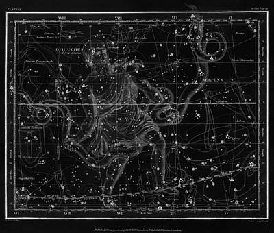 Reptiles Drawings - Celestial Map print from 1822 - Black and White by Marianna Mills
