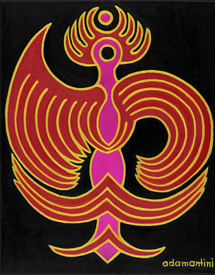 Celestial Red Phoenix Art Print
