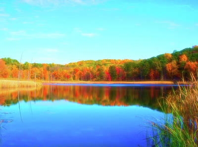 Photograph - Celestial Skies Autumn Pond by Aimee L Maher Photography and Art Visit ALMGallerydotcom