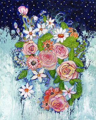 Celestial Painting - Celestial Sky Flower Garden by Blenda Studio