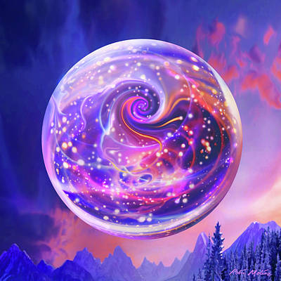 Digital Art - Celestial Snow Globe by Robin Moline