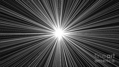 Digital Art - Celestial Sunburst Digital Art 1 Black And White by Ricardos Creations