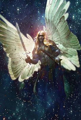 Saint Gabriel Painting - Celestial Vision Saint Gabriel by Suzanne Silvir