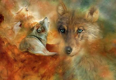 Mixed Media - Celestial Wolves 3 by Carol Cavalaris