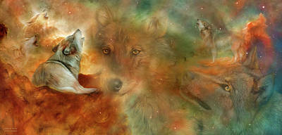Mixed Media - Celestial Wolves by Carol Cavalaris