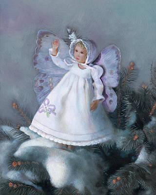 Ski Lodge Decor Painting - Celestine Snow Fairy by Nancy Lee Moran