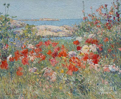Coastal Maine Painting - Celia Thaxter's Garden, Isles Of Shoals, Maine, 1890 by Childe Hassam