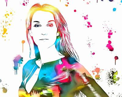 Celine Dion Paint Splatter Art Print by Dan Sproul