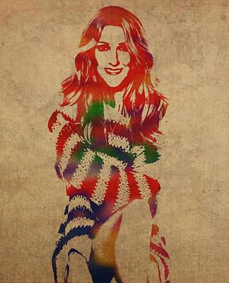 Celine Dion Mixed Media - Celine Dion Watercolor Portrait by Design Turnpike