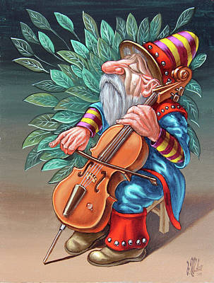 Painting - Cellist by Victor Molev
