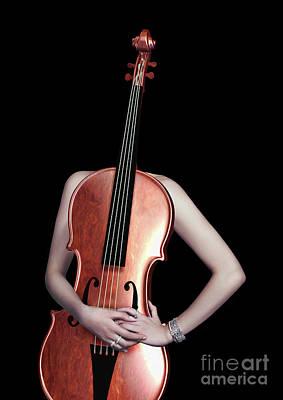 Nudes Digital Art - Cello Girl  - 1 by Prar Kulasekara
