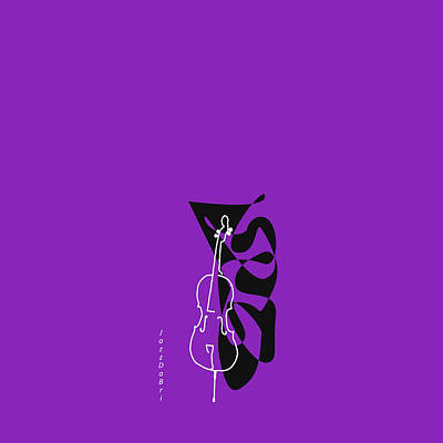 Digital Art - Cello In Purple by David Bridburg