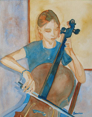 Cello Painting - Cello Practice Iv by Jenny Armitage