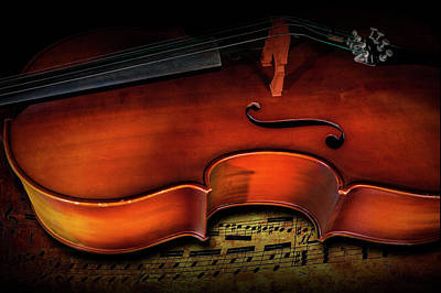 Photograph - Cello Still Life Acoustic Stringed Musical Instrument With Musical Notes by Randall Nyhof