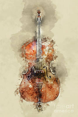Cello Painting - Cello Watercolor by Delphimages Photo Creations