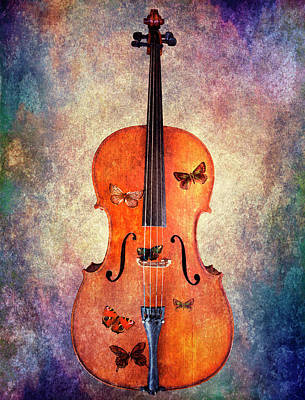 Digital Art - Cello With Butterflies by Michele Cornelius