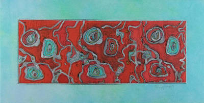 Silver Turquoise Mixed Media - Cellular 1 by Peggy Wright