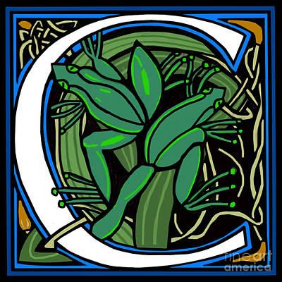 Celt Frog Letter C Art Print by Donna Huntriss