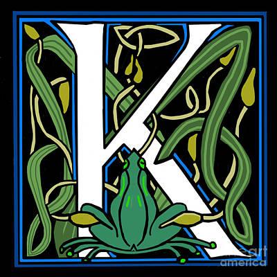 Celt Frog Letter K Art Print by Donna Huntriss