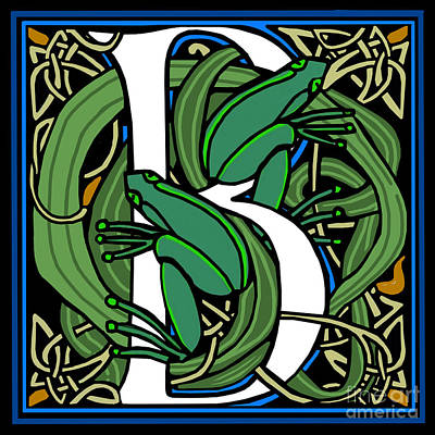 Celt Frogs Letter B Art Print by Donna Huntriss