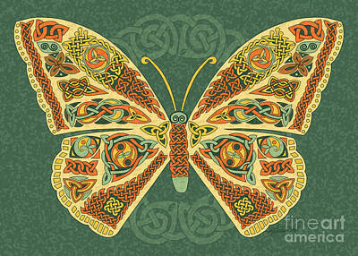 Print featuring the mixed media Celtic Butterfly by Kristen Fox