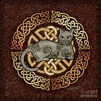 Mixed Media - Celtic Cat by Kristen Fox