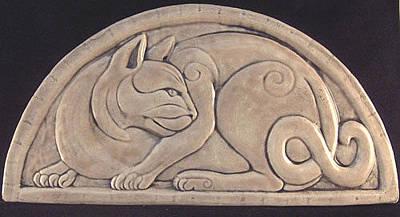 Ceramic Sculpture - Celtic Cat by Shannon Gresham