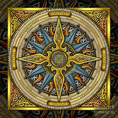 Print featuring the mixed media Celtic Compass by Kristen Fox