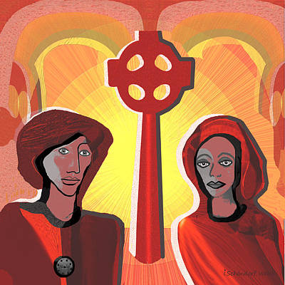 Digital Art -  2428 Celtic Couple  A by Irmgard Schoendorf Welch