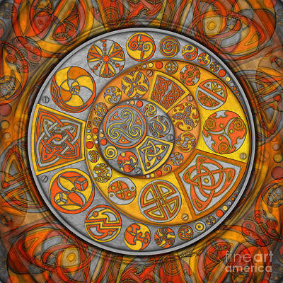 Mixed Media - Celtic Crescents by Kristen Fox