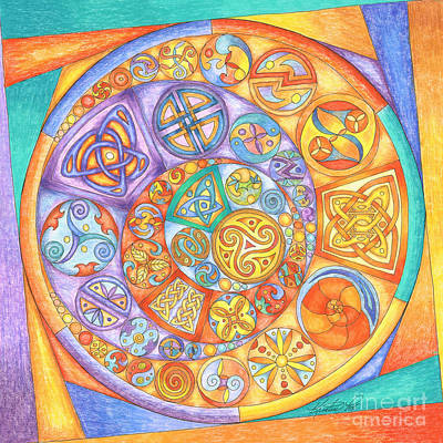 Mixed Media - Celtic Crescents Rainbow by Kristen Fox