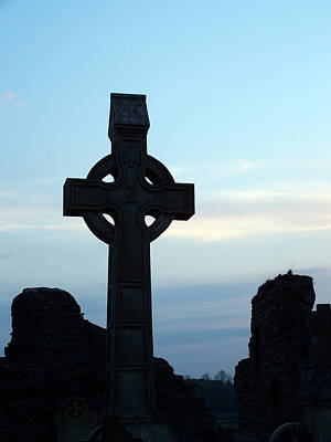 Fall Animals - Celtic Cross at Sunset Donegal Ireland by Teresa Mucha