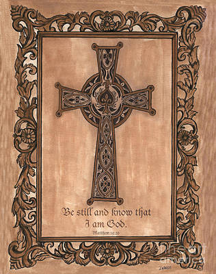 Pen Painting - Celtic Cross by Debbie DeWitt