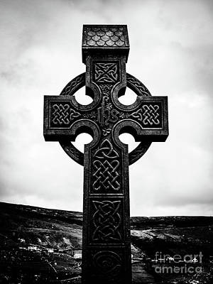 Photograph - Celtic Cross Glencolmcille Bw by Lexa Harpell