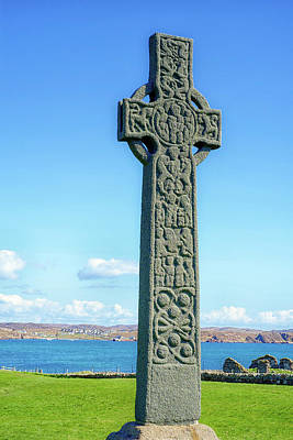 Photograph - Celtic Cross, Iona, Inner Hebrides, Scotland by Christopher Rees