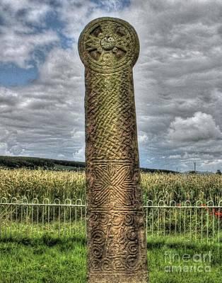 Wales Digital Art - Celtic Cross Maen Achwyfan by Chris Evans