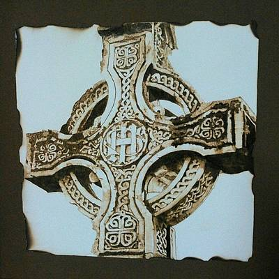 On Wood Pyrography Pyrography - Celtic Cross by Marsha Wilson