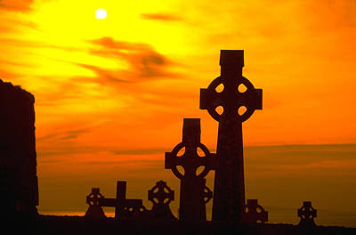 Black And White Horse Photography - Celtic Crosses in Graveyard by Carl Purcell