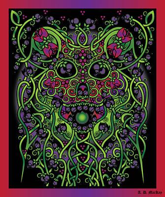 Fairy Digital Art - Celtic Day Of The Dead Skull by Celtic Artist Angela Dawn MacKay