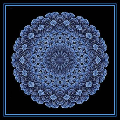 Digital Art - Celtic Doily Blue Tile by Doug Morgan