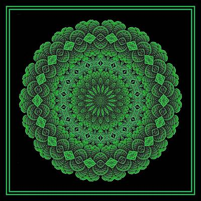 Digital Art - Celtic Doily Green Tile by Doug Morgan