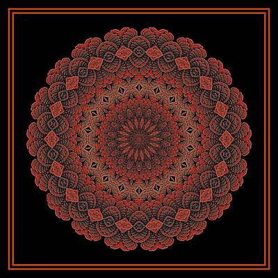 Digital Art - Celtic Doily Orange Tile by Doug Morgan
