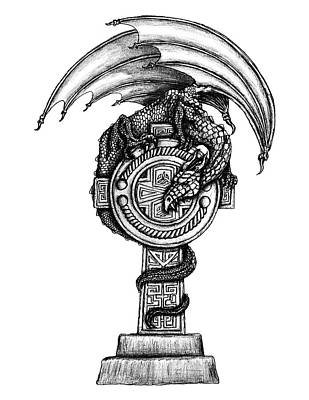 Tuatha Drawing - Celtic Dragon Cross by Michael Lee
