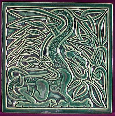 Ceramic Sculpture - Celtic Dragon Tile by Shannon Gresham